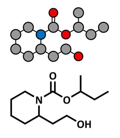 Icaridin (picaridine) insect repellent molecule. Stylized 2D rendering and conventional skeletal formula. Vector