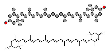 Lutein carotenoid molecule. Nutrient present in green leafy vegetables such as spinach and kale. Stylized 2D renderings and conventional skeletal formula.