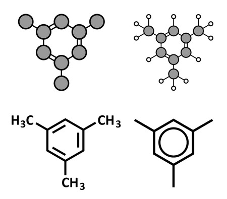 solvant: M�sityl�ne mol�cule d'hydrocarbure aromatique. Solvant important dans l'industrie chimique et des compos�s organiques volatils (COV) des polluants dans l'environnement. Rendus 2D stylis�s et des formules squelettiques classiques.