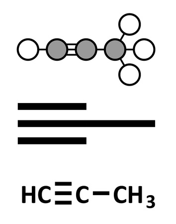 formulae: Methylacetylene (propyne) molecule. Used in welding gas and rocket fuel. Stylized 2D rendering and conventional skeletal formulae.