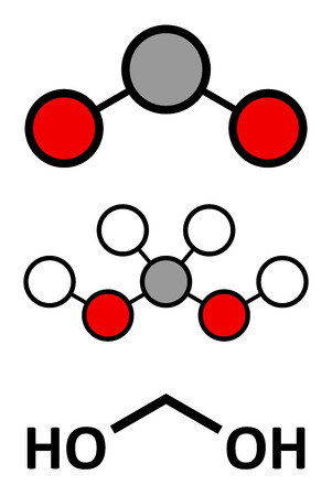 Methylene glycol (methanediol, formaldehyde monohydrate) molecule. Formed upon dissolving formaldehyde in water. Stylized 2D renderings and conventional skeletal formula. Illustration