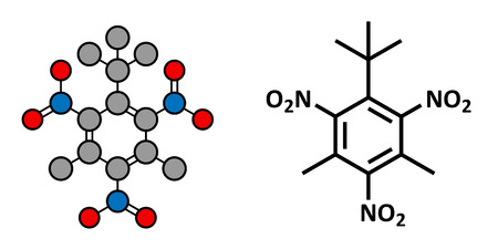 pollutant: Musk xylene molecule. Highly persistent and bioaccumulative pollutant used as a synthetic musk fragrance. Stylized 2D rendering and conventional skeletal formula.