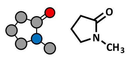 solvant: N-m�thyl-2-pyrrolidone (NMP) chimique mol�cule de solvant. Rendu 2D stylis� et formule squelettique classique.