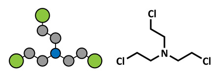 chemical warfare: Nitrogen mustard HN-3 molecule. Used as blister agent (chemical warfare agent) and anticancer drug. Stylized 2D rendering and conventional skeletal formula.