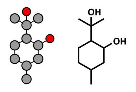 insect repellent: p-Menthane-3-8-diol (PMD, menthoglycol) insect repellent molecule. Stylized 2D rendering and conventional skeletal formula.