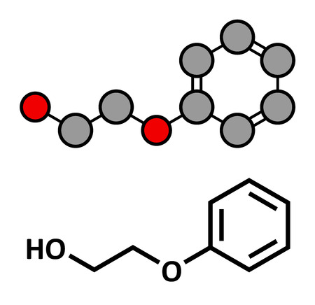 allergenic: Phenoxyethanol preservative molecule. Used in cosmetics, vaccines, drugs, etc. Stylized 2D rendering and conventional skeletal formula.