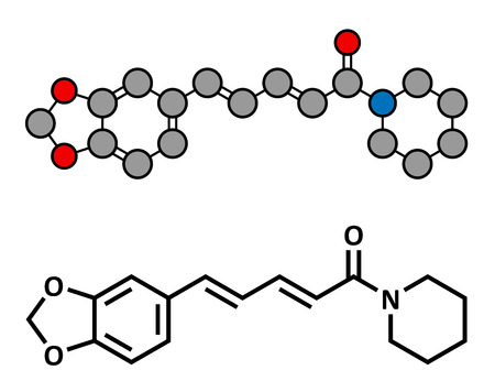 piperine: Piperine black pepper molecule. Responsible for the pungency of black pepper and long pepper. Stylized 2D rendering and conventional skeletal formula.