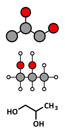 solvant: Le propyl�ne glycol (1,2-propanediol) mol�cule. Utilis� comme solvant dans les produits pharmaceutiques, comme additif alimentaire, dans des solutions de d�givrage, etc cr�pis stylis� 2D et formule squelettique classique.