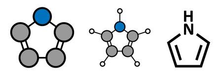 Pyrrole heterocyclic organic molecule. Stylized 2D renderings and conventional skeletal formula.