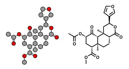 salvia: Salvinorin A entheogen molecule. Psychotropic molecule from Salvia divinorum. Stylized 2D rendering and conventional skeletal formula. Illustration