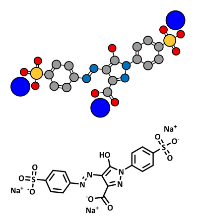 allergenic: Tartrazine (E102) food dye molecule. Yellow azo dye used in food, beverages, pharmaceuticals, etc. Allergenic. Stylized 2D rendering and conventional skeletal formula. Illustration