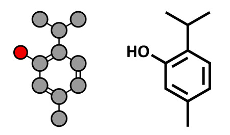 preservative: Thymol oil of thyme molecule. Present in kitchen herb Thymus vulgaris. Has antiseptic and preservative properties. Stylized 2D rendering and conventional skeletal formula.