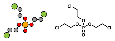 suspected: TCEP [tris(2-chloroethyl) phosphate] molecule. Used as flame retardant and plasticizer in production of polymers. Suspected to have toxic effect on reproduction. Stylized 2D rendering and conventional skeletal formula.