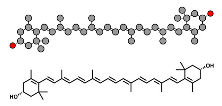 Zeaxanthin yellow pigment molecule. Responsible for color of bell peppers, corn, saffron, etc. Also plays important role in human eye (in the macula). Stylized 2D rendering and conventional skeletal formula.