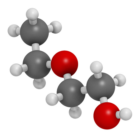 dissolve: 2-ethoxyethanol solvent molecule. Can dissolve many types of molecules and is thus used in cleaning products, degreasing solutions, varnish removers, etc. Atoms are represented as spheres with conventional color coding: hydrogen (white), carbon (grey), ox