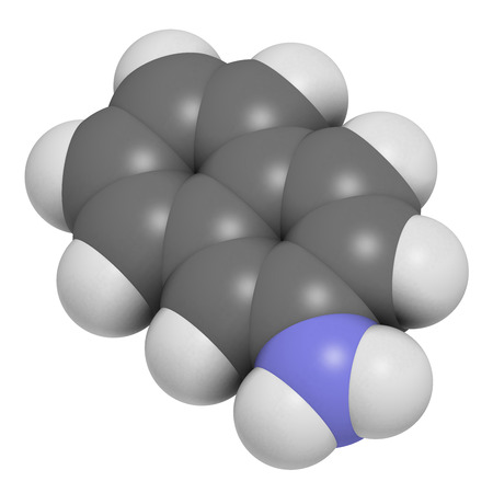 carcinogen: Mol�cula de carcin�geno 2-naftilamina. Las fuentes incluyen el humo del cigarrillo. Pueden desempe�ar un papel en el desarrollo de c�ncer de vejiga. Los �tomos se representan como esferas con codificaci�n convencional color: hidr�geno (blanco), el carb�n (gris), nitr�geno (azul).