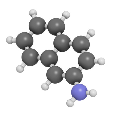bladder cancer: 2-naphthylamine carcinogen molecule. Sources include cigarette smoke. May play a role in development of bladder cancer. Atoms are represented as spheres with conventional color coding: hydrogen (white), carbon (grey), nitrogen (blue).