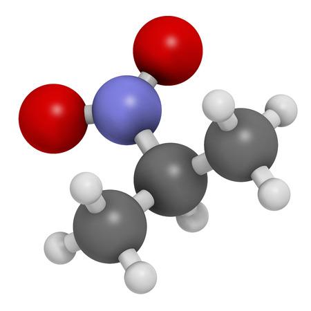 revestimientos: Nitropropano (2-nitropropano, 2-NP) mol�cula de solvente qu�mico. Se utiliza como disolvente en la producci�n de tinta, pol�meros, recubrimientos, adhesivos, etc �tomos se representan como esferas con codificaci�n convencional de color: hidr�geno (blanco), de carbono (gris), ox�geno (rojo), nitrog