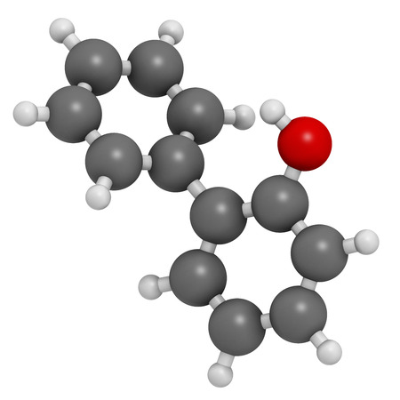 disinfectant: 2-phenylphenol preservative molecule. Biocide used as food additive, preservative, and disinfectant.  Atoms are represented as spheres with conventional color coding: hydrogen (white), carbon (grey), oxygen (red). Stock Photo
