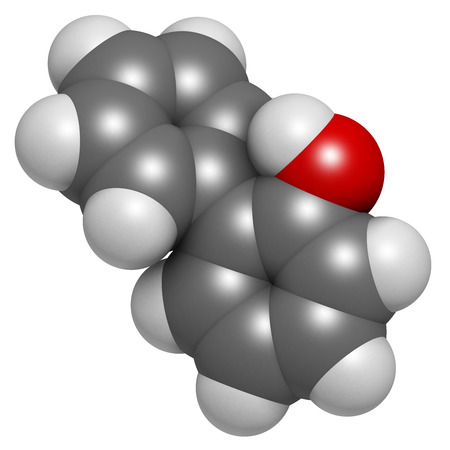 살균제: 2 - 페닐 방부제 분자. 살 생물 제는 식품 첨가물, 방부제, 살균제로 사용. 수소 (흰색), 탄소 (회색), 산소 (적색) : 원자는 기존의 컬러 코딩 분야로 표시됩니다. 스톡 사진
