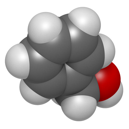 preservative: Benzyl alcohol solvent molecule. Used in manufacture of paint, ink, etc. Also used as preservative in drugs. Atoms are represented as spheres with conventional color coding: hydrogen (white), carbon (grey), oxygen (red).