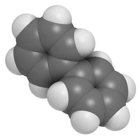 biphenyl: Lemonene (biphenyl, diphenyl) preservative molecule. Atoms are represented as spheres with conventional color coding: hydrogen (white), carbon (grey).