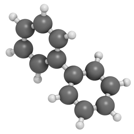 Lemonene (biphenyl, diphenyl) preservative molecule. Atoms are represented as spheres with conventional color coding: hydrogen (white), carbon (grey).