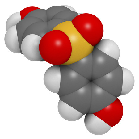 epoxy: Bisphenol S (BPS) plasticizer molecule. Used as curing agent in epoxy glues and as alternative to BPA. Atoms are represented as spheres with conventional color coding: hydrogen (white), carbon (grey), oxygen (red), sulfur (yellow).