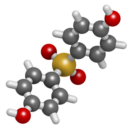 bps: Bisphenol S (BPS) plasticizer molecule. Used as curing agent in epoxy glues and as alternative to BPA. Atoms are represented as spheres with conventional color coding: hydrogen (white), carbon (grey), oxygen (red), sulfur (yellow).