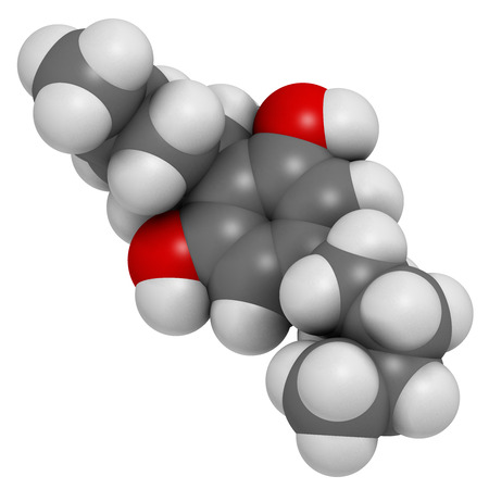 cannabinoid: Cannabidiol (CBD) cannabis molecule. Has antipsychotic effects. Atoms are represented as spheres with conventional color coding: hydrogen (white), carbon (grey), oxygen (red). Stock Photo