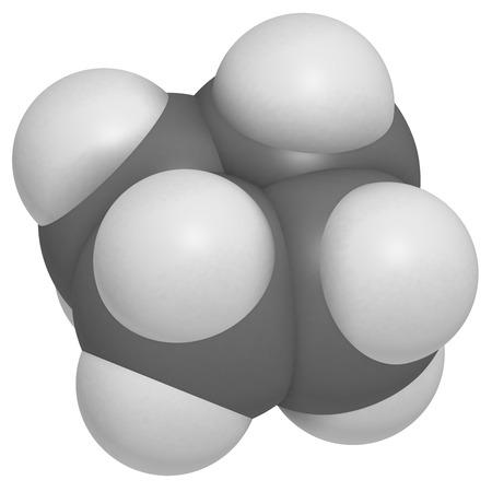 dimer: cyclobutane cyclic alkane (cycloalkane) molecule. Atoms are represented as spheres with conventional color coding: hydrogen (white), carbon (grey).