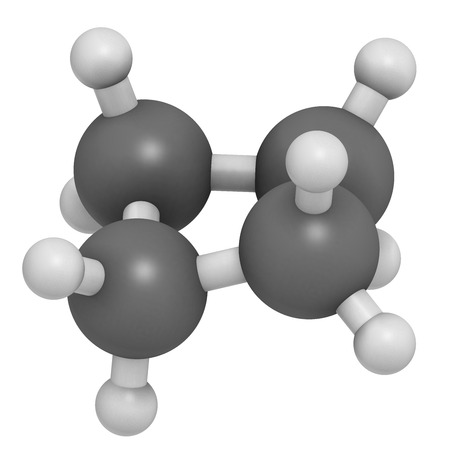 puckered: cyclobutane cyclic alkane (cycloalkane) molecule. Atoms are represented as spheres with conventional color coding: hydrogen (white), carbon (grey).