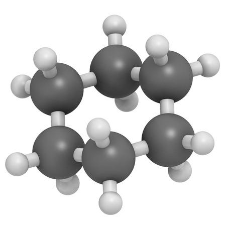 conformation: Mol�cula de disolvente qu�mico ciclohexano. Los �tomos se representan como esferas con codificaci�n convencional de color: hidr�geno (blanco), de carbono (gris). Foto de archivo