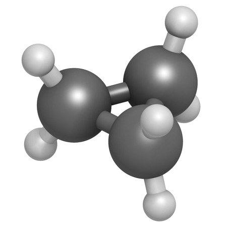 anaesthetic: Cyclopropane cycloalkane molecule. Used as anaesthetic. Atoms are represented as spheres with conventional color coding: hydrogen (white), carbon (grey). Stock Photo