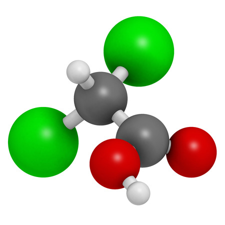 acidosis: Dichloroacetic acid (DCA). Dichloroacetate salts inhibit the enzyme pyruvate dehydrogenase kinase and are evaluated in the treatment of cancer. Atoms are represented as spheres with conventional color coding: hydrogen (white), carbon (grey), oxygen (red),