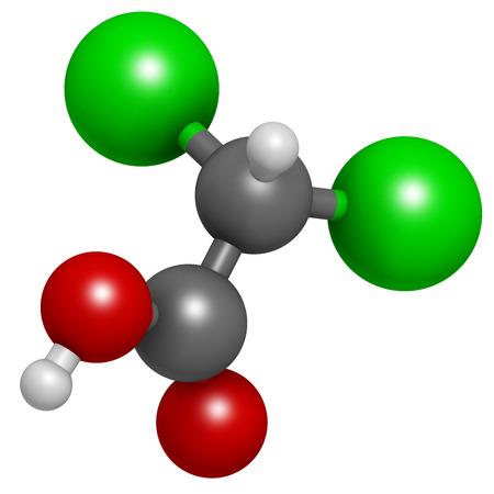 Dichloroacetic acid (DCA). Dichloroacetate salts inhibit the enzyme pyruvate dehydrogenase kinase and are evaluated in the treatment of cancer. Atoms are represented as spheres with conventional color coding: hydrogen (white), carbon (grey), oxygen (red),