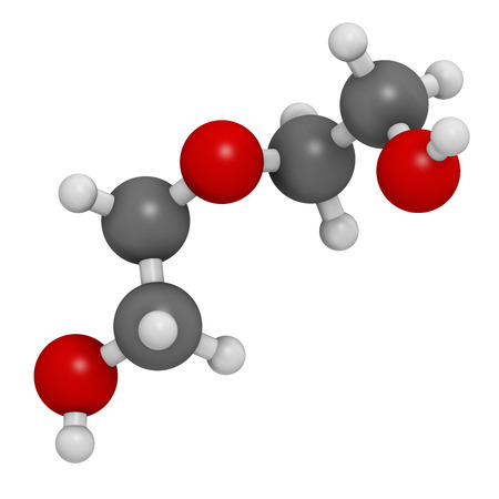 deg: Diethylene glycol chemical solvent molecule. Highly toxic. Used as adulterant in wine, syrups and counterfeit drugs. Atoms are represented as spheres with conventional color coding: hydrogen (white), carbon (grey), oxygen (red). Stock Photo