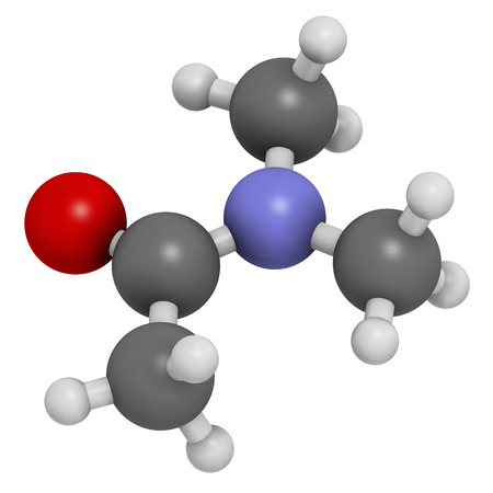 acetic: Dimethylacetamide (DMAc) chemical solvent molecule. Atoms are represented as spheres with conventional color coding: hydrogen (white), carbon (grey), oxygen (red), nitrogen (blue).