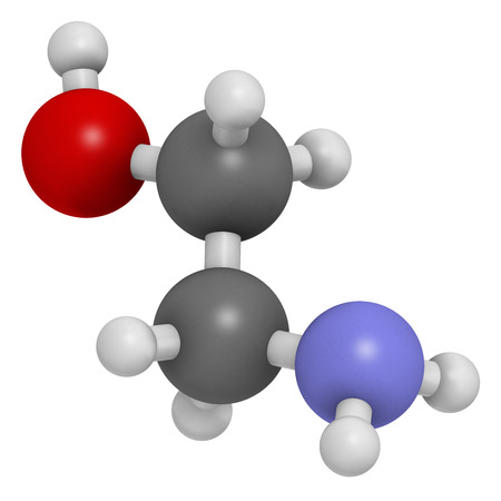 mea: Ethanolamine (2-aminoethanol) molecule. Atoms are represented as spheres with conventional color coding: hydrogen (white), carbon (grey), oxygen (red), nitrogen (blue).