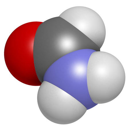 formic: Formamide (methanamide) solvent molecule.  Atoms are represented as spheres with conventional color coding: hydrogen (white), carbon (grey), oxygen (red), nitrogen (blue).