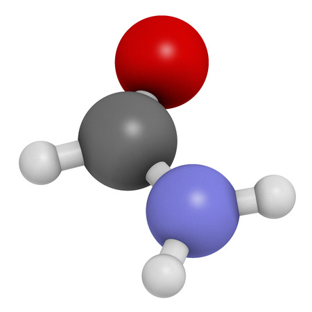 amide: Formamide (methanamide) solvent molecule.  Atoms are represented as spheres with conventional color coding: hydrogen (white), carbon (grey), oxygen (red), nitrogen (blue).
