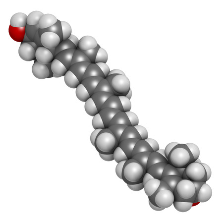 carotenoid: Lutein carotenoid molecule. Nutrient present in green leafy vegetables such as spinach and kale. Atoms are represented as spheres with conventional color coding: hydrogen (white), carbon (grey), oxygen (red).