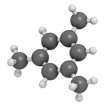 Mesitylene aromatic hydrocarbon molecule. Important solvent in chemical industry and volatile organic compound (VOC) pollutant in the environment. Atoms are represented as spheres with conventional color coding: hydrogen (white), carbon (grey). photo