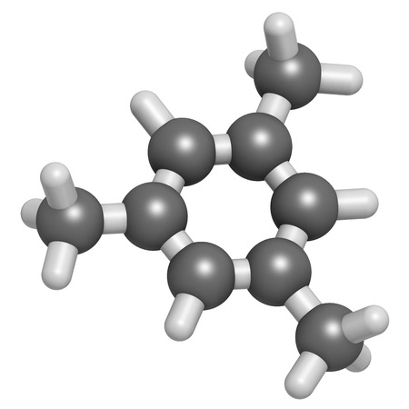 volatile: Mesitylene aromatic hydrocarbon molecule. Important solvent in chemical industry and volatile organic compound (VOC) pollutant in the environment. Atoms are represented as spheres with conventional color coding: hydrogen (white), carbon (grey). Stock Photo
