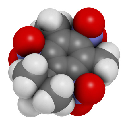 persistent: Musk xylene molecule. Highly persistent and bioaccumulative pollutant used as a synthetic musk fragrance. Atoms are represented as spheres with conventional color coding: hydrogen (white), carbon (grey), oxygen (red), nitrogen (blue).