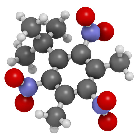 pollutant: Musk xylene molecule. Highly persistent and bioaccumulative pollutant used as a synthetic musk fragrance. Atoms are represented as spheres with conventional color coding: hydrogen (white), carbon (grey), oxygen (red), nitrogen (blue).