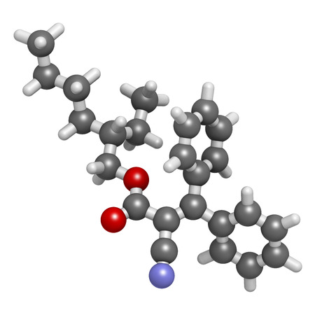 Octocrylene sunscreen molecule. Atoms are represented as spheres with conventional color coding: hydrogen (white), carbon (grey), oxygen (red), nitrogen (blue).