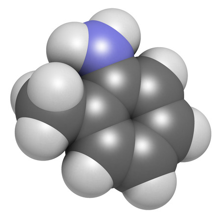 suspected: Toluidine (ortho-toluidine, 2-methylaniline) molecule. Suspected to be carcinogenic. Atoms are represented as spheres with conventional color coding: hydrogen (white), carbon (grey), nitrogen (blue). Stock Photo