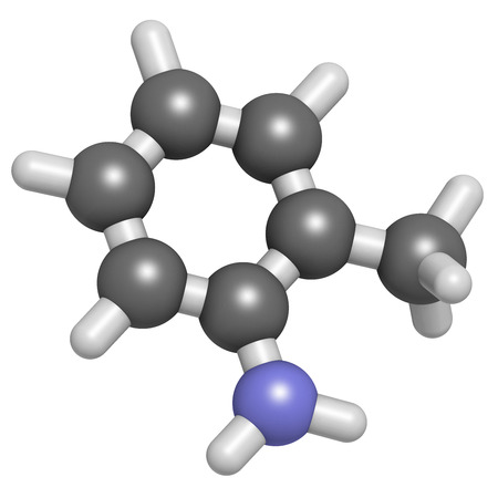 Toluidine (ortho-toluidine, 2-methylaniline) molecule. Suspected to be carcinogenic. Atoms are represented as spheres with conventional color coding: hydrogen (white), carbon (grey), nitrogen (blue). Stock Photo