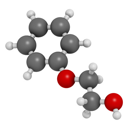 preservative: Phenoxyethanol preservative molecule. Used in cosmetics, vaccines, drugs, etc. Atoms are represented as spheres with conventional color coding: hydrogen (white), carbon (grey), oxygen (red).